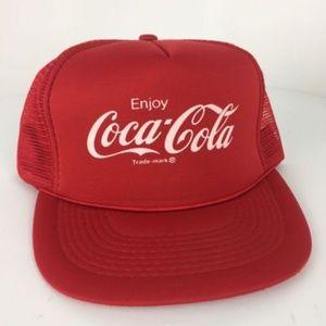 Other - Vintage Coca Cola Snapback Trucker Hat Cap mesh